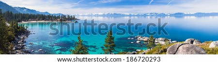 Lake Tahoe panorama - stock photo
