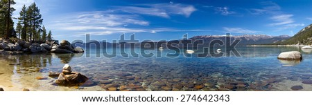 Lake Tahoe Panoramic Landscape in California - stock photo