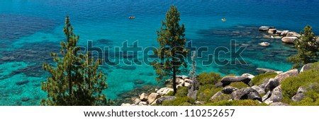 Lake Tahoe shore panorama - stock photo