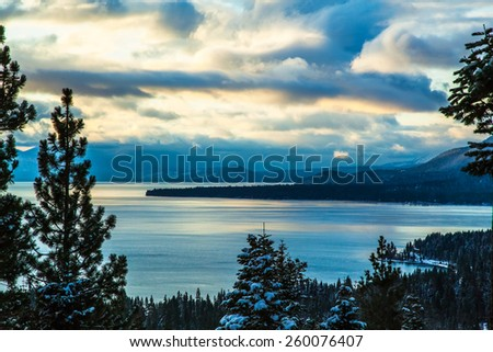 Lake Tahoe Sunrise in Winter - stock photo