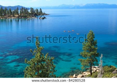 Lake Tahoe with kayakers - stock photo