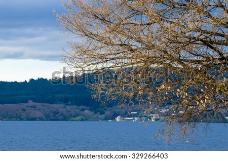 Lake Taupo which is located at Auckland,New Zealand. - stock photo