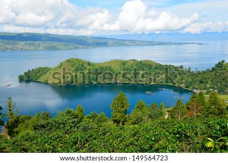 Lake toba or danau toba in North Sumatra, Indonesia - stock photo