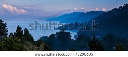 Lake Toba Panorama Parapat, North Sumatra Indonesia - stock photo