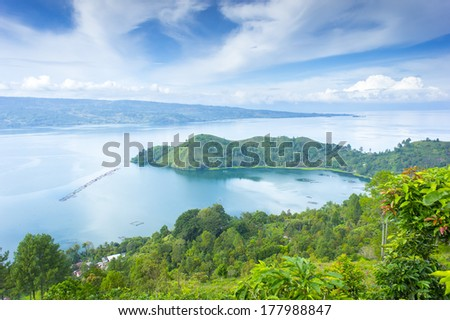 lake toba scenery from top view - stock photo