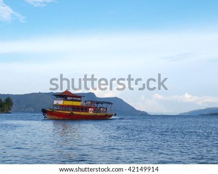 Lake toba view from Samosir island - stock photo