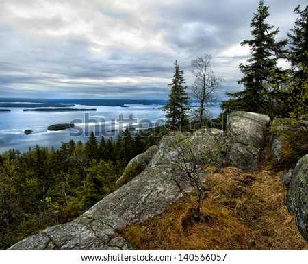 Lake view from the top of Koli national park in Finland - stock photo