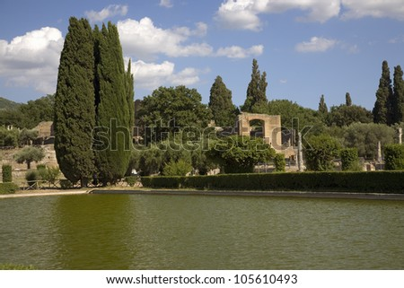 Lake view of Hadrian's Villa, the Roman Emperor's 'Villa', erected in 118 and 138 AD on 150 acres. - stock photo
