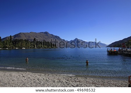 Lake Wakatipu, famous view of Queenstown, New Zealand - stock photo
