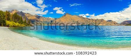 Lake Wakatipu in New Zealand. Panorama - stock photo