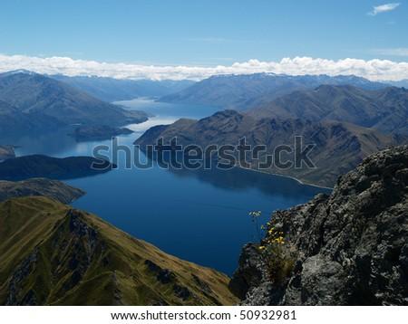 Lake Wanaka from summit of Roy's peak - stock photo