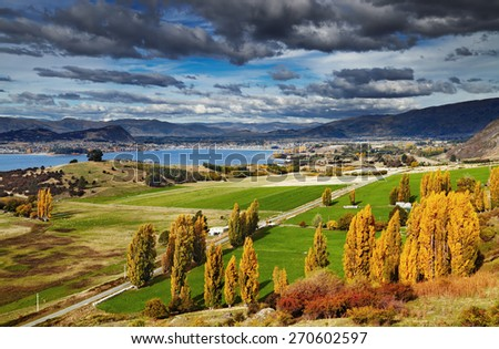 Lake Wanaka, view from mount Roys, South Island,  New Zealand - stock photo