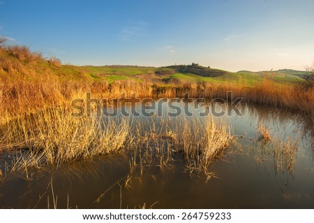 Lake water for irrigation, Tuscan fields - stock photo