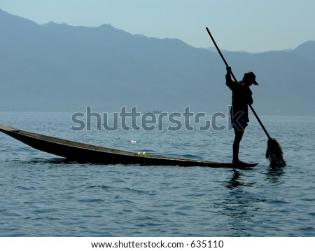 Lake Weed Farmer  Inle Lake, Shan State, Myanmar (Burma) - stock photo