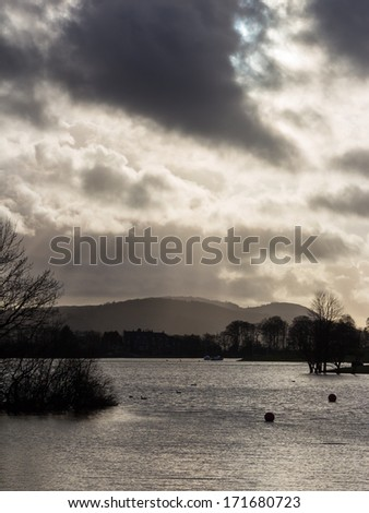 Lake Windermere from a boat trip, English Lake District Cumbria England UK - stock photo