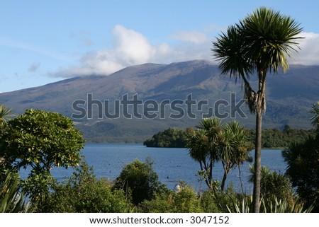 Lake with hills, New Zealand - stock photo