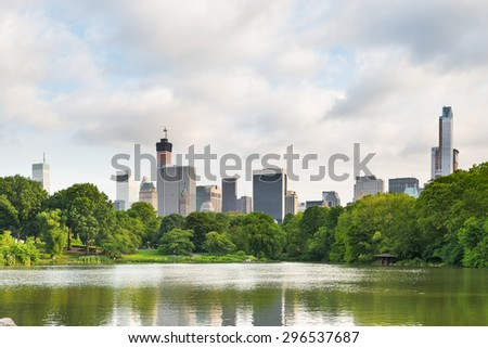 Lake with reflections in New York's Central Park - stock photo