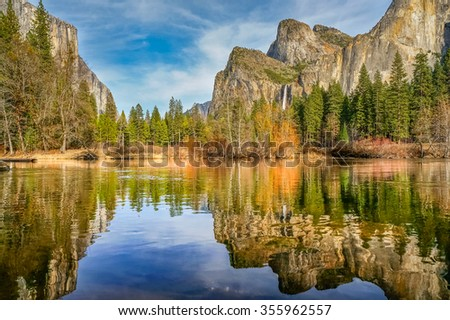 Lake with waterfall on the background in Yosemite Park, California - stock photo