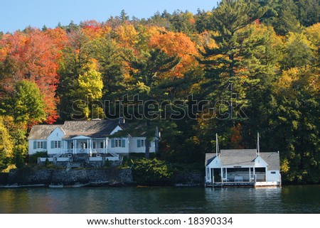 Lakefront home - stock photo