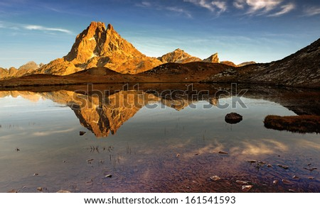 lakes French Pyrenees, in the valley d'Ossau - stock photo