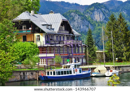 lakes of Austria .view with yacht and villa. st Gilgen - stock photo
