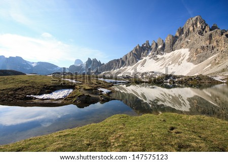 lakes of the plans and Monte Paterno (Dolomites) - stock photo