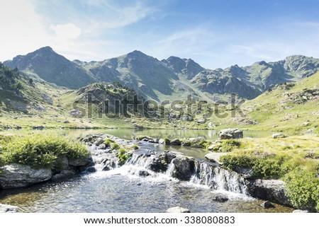 lakes of Tristaina in Andorra La Vella - stock photo
