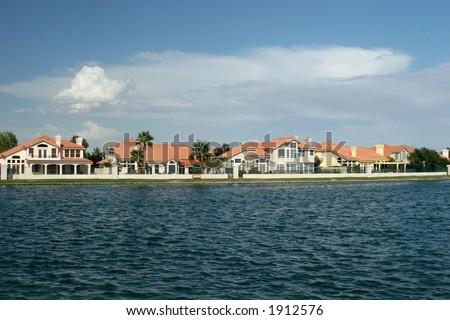 Lakeside neighborhood - stock photo