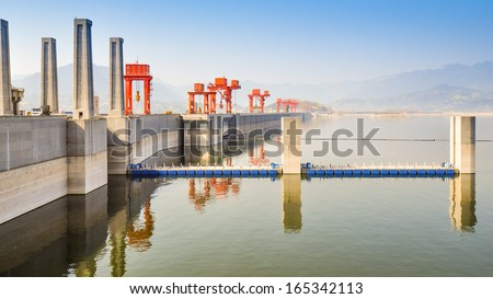 Lakeside View of the Three Gorges Dam on a  Misty Day - Sandouping, Yichang, China - stock photo