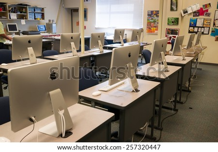 LAKEWOOD, WASHINGTON/UNITED STATES- MAY, 1: A classroom filled with computers on the Clover Park Technical College campus May 1, 2014. - stock photo