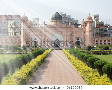 Lalbagh fort with Sun Ray, Dhaka, Bangladesh. - stock photo