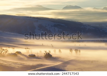 Lamar Valley in Yellowstone National Park. - stock photo