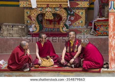 LAMAYURU, INDIA - JUNE 13, 2015: Unidentified buddhist monk during mystical mask dancing Tsam mystery dance in time of Yuru Kabgyat Buddhist festival at Lamayuru Gompa, Ladakh, North India - stock photo