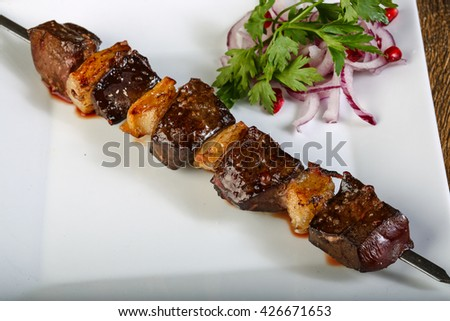 Lamb bbq skewer with white fat - stock photo