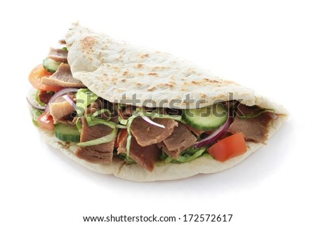 lamb donner naan sandwich - stock photo