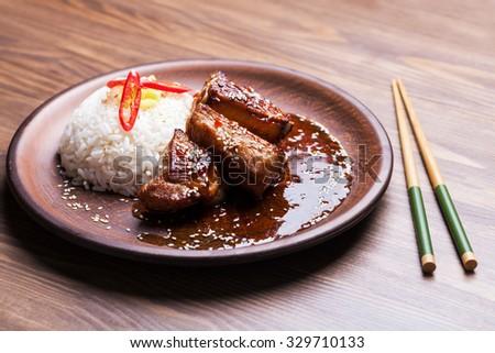 lamb ribs with sweet sauce - stock photo