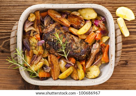 Lamb roast with vegetable - stock photo
