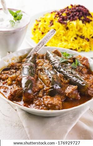 lamb stew with eggplant - stock photo