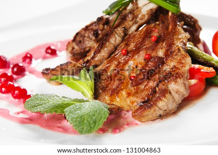 lamb with vegetables - stock photo