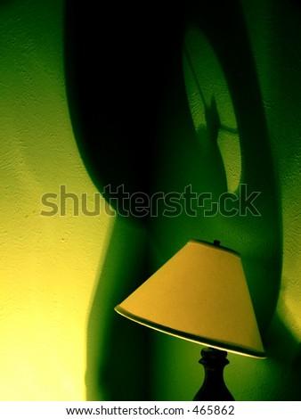 lamp and green shadows - stock photo
