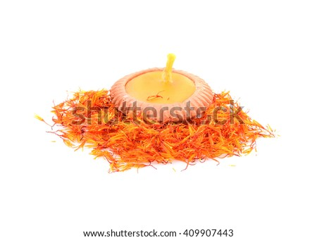 lamp and Safflower on white background - stock photo