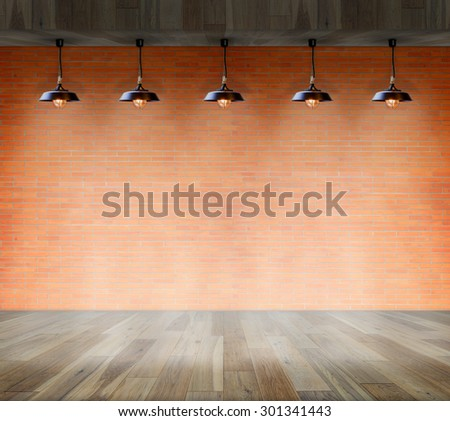 Lamp at brick wall background with ground wood, Template for product display - stock photo