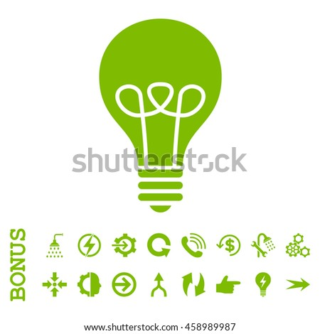 Lamp Bulb glyph icon. Image style is a flat iconic symbol, eco green color, white background. - stock photo