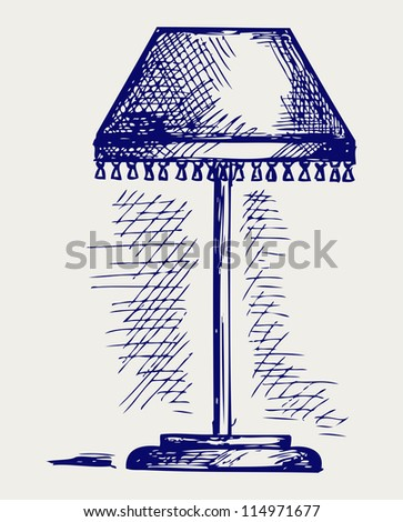 Lamp for the bedroom. Doodle style. Raster version - stock photo