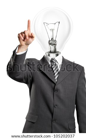 Lamp head business man push the button on virtual touch pad - stock photo