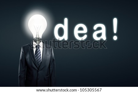 lamp head businessman and  word idea - stock photo
