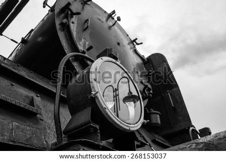 Lamp historic steam locomotive - stock photo