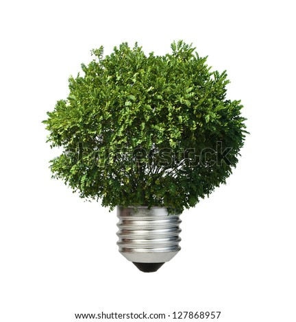 Lamp made of green tree. Ecology conception. Blue sky. - stock photo