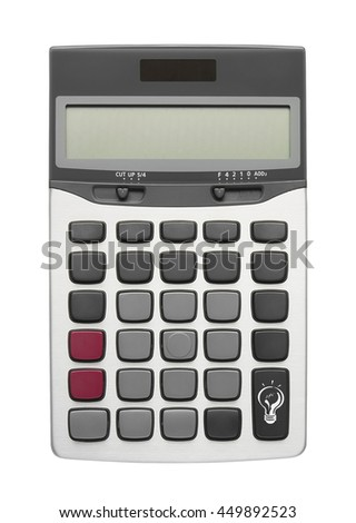 Lamp on calculator button for new creativity or idea and your text, isolated included clipping path - stock photo