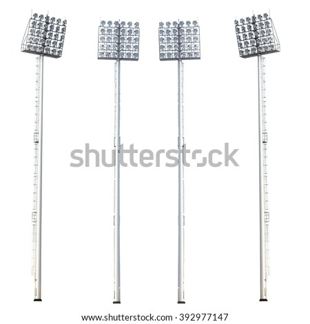 lamp post ,electricity industry, Light stadium or Sports lighting isolated on white background. - stock photo